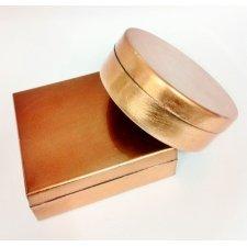 Caja de regalo lacada cobre. Aprox 12x12x5 C/4 uds surtidas