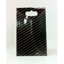 10 Bolsas de papel, negro raya oro. 13x26x7