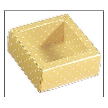 Caja de regalo mango con topos/tapa transparente 6x6x3.2 cms. C/10 uds. Varios tamaños