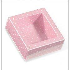 Caja de regalo rosa con topos/tapa transparente 12x12x3.2 cms. C/5 uds. Varios tamaños