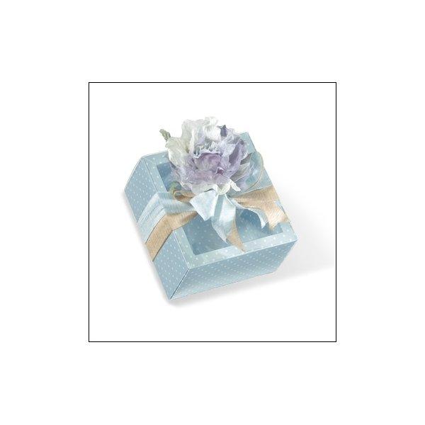 Caja de regalo azul claro con topos/tapa transparente 12x12x3.2 cms. C/5 uds. Varios tamaños