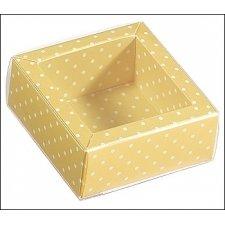 Caja de regalo color mango con topos/tapa transparente 12x12x3.2 cms. C/5 uds. Varios tamaños