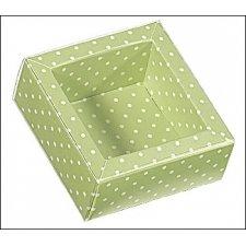 Caja de regalo verde claro con topos/tapa transparente 12x12x3.2 cms. C/5 uds. Varios tamaños