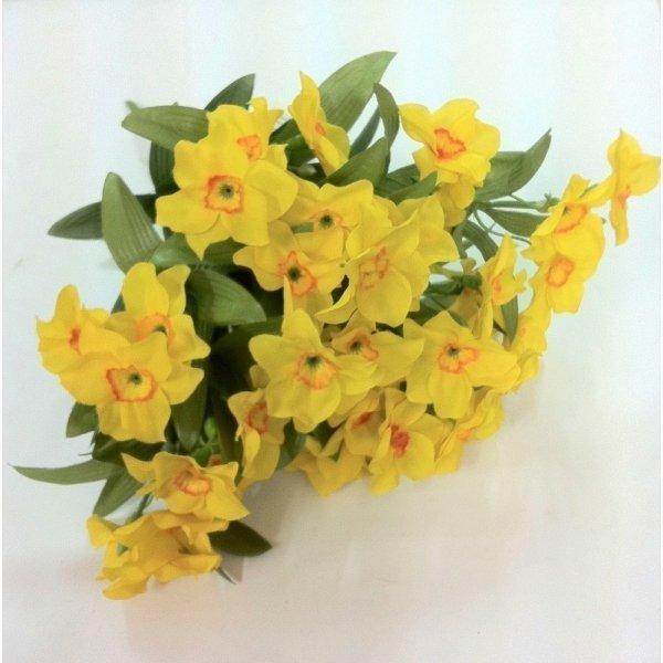 Pomo De Narcisos Amarillos De Tela Aprox 35 Cms - Narcisos-amarillos