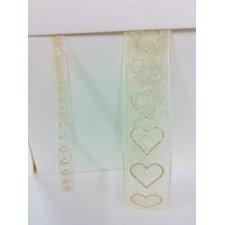 Cinta marfil con corazones brillo 7 mm x 10 m