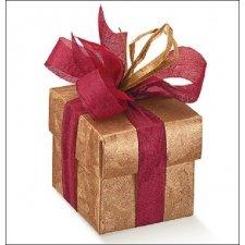 Caja de regalo de cartón en color cobre. Mod. fondo+tapa, 6x6x3.5 cms C/10 uds.