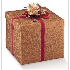 Caja de regalo de cartón en color cobre. Mod. fondo+tapa, 20x20x19 cms