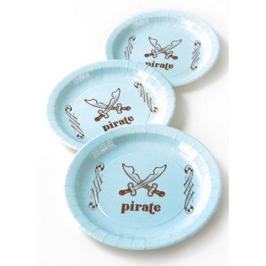 6 Platos de papel/cartón, pirata azul claro y marrón