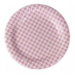 12 Platos de papel, cuadro vichy Rosa