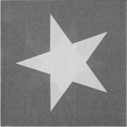 20 Servilletas de papel, grises con estrella blanca