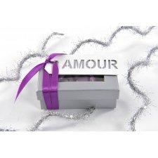 Etiqueta colgante amour, con cinta 3x8cms C/10 uds. Varios colores