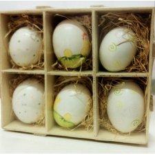 Caja de 6 huevos de pascua, decorados. Gallina