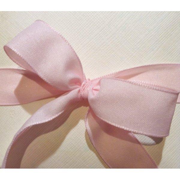 Cinta de regalo en algodón color rosa bebé. 38 mm x 20 m