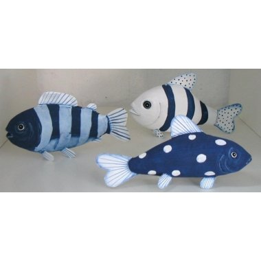 Set de 3 peces metálicos, azul y blanco
