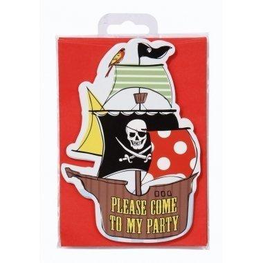 10 Invitaciones pirata + 10 sobres rojos