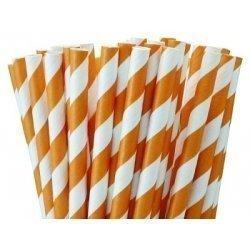 Pajitas de papel, rayas naranjas. 24 Uds.