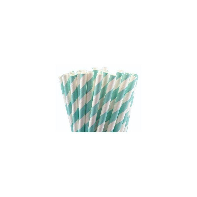 24 Pajitas de papel, rayas azul claro.