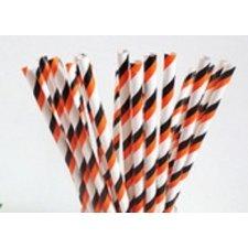 Pajitas de papel, rayas negro+naranja. 25 Uds.