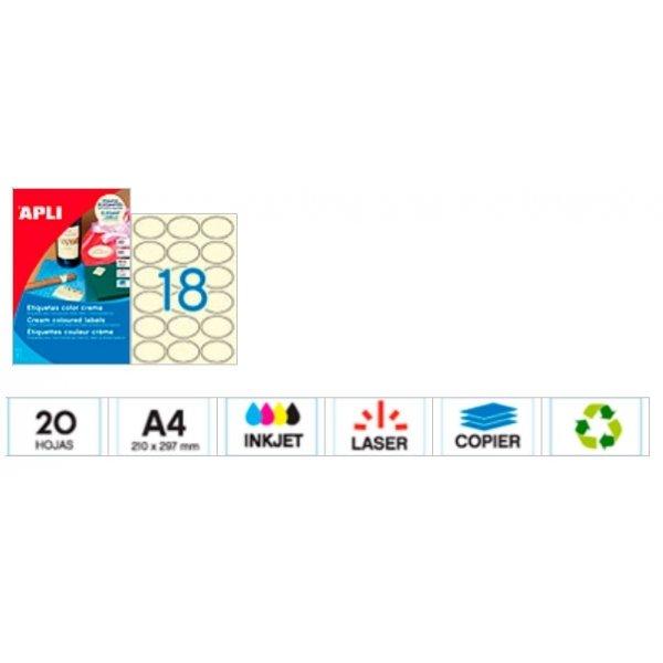 Etiqueta adhesiva oval crema 63.5X42.3mm C/72 uds. Imprimible.