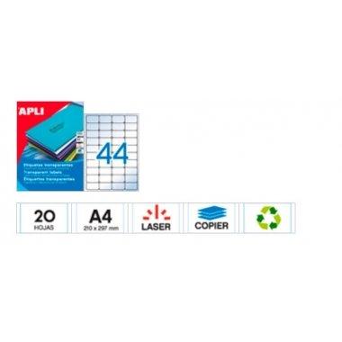 Etiquetas adhesivas transparentes, imprimibles. C/132 uds