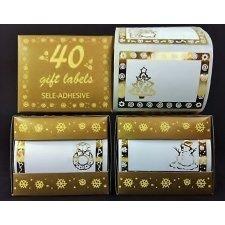 40 Etiquetas adhesivas blanca con stamping oro
