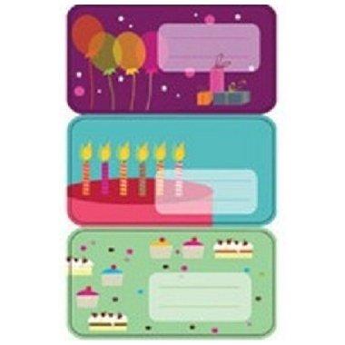 Etiquetas adhesivas globos, tarta y cup cakes. C/9 uds