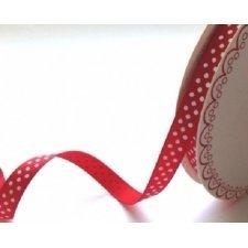 Cinta de regalo, otomán rojo, lunar blanco 10mm. Varios metrajes