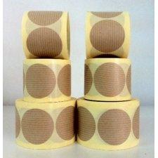 Etiqueta adhesiva circular, kraft natural 40 mm. R/50 uds