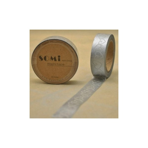 washi tape Corazón de plata. 15 mm x 10 m.