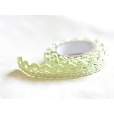 Lace tape / puntilla adhesiva. Crochet verde agua. 15mmx2m. Aprox