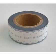 washi tape LIVE LAUGH LOVE ondas gris. 15 mm x 10 m.
