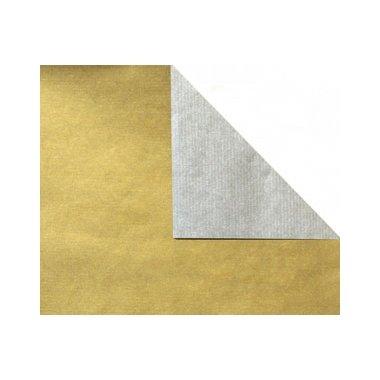 Bobina de papel de regalo, KRAFT, bicolor plata y oro