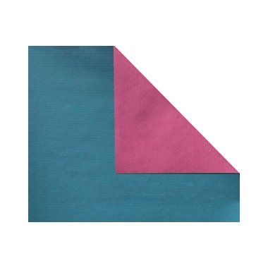 Bobina de papel de regalo, KRAFT, bicolor azul petroleo y azalea