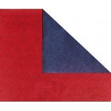 Bobina de papel de regalo, KRAFT, bicolor azul marino y rojo
