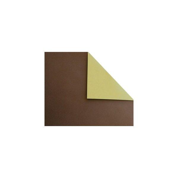 Bobina de papel de regalo, KRAFT, bicolor marrón y dorado
