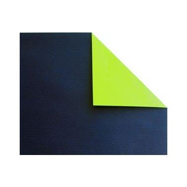 Bobina de papel de regalo, KRAFT, bicolor marino y pistacho