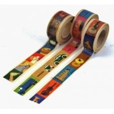 Washi tape, 3 PIEZAS ANIMAL+UTILES+COCHE 15 mm x 5 m