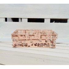 Caja metálica, calada, rosa 16x12x5 cms