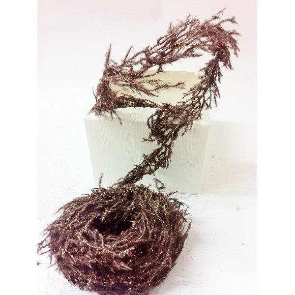 Cordón flocado marrón/oro 3m