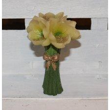 4 velas flores crema 7x12 cms