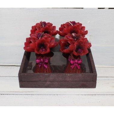 4 velas flores rojas 5x8 cms