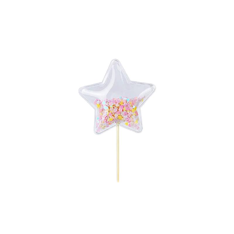 Topper- Pick Estrella transparente con confeti