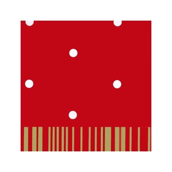 Bobina de papel regalo, rojo con lunares blancos y reverso rayado en dorado 70x100 m