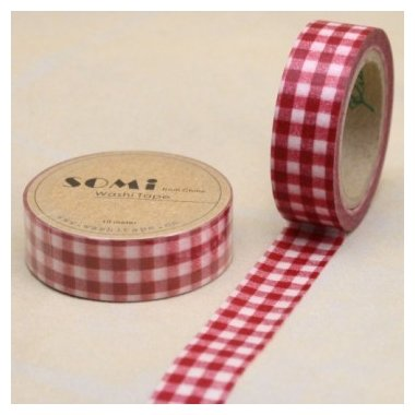 washi tape Check rojo. 15 mm x 10 m. AGOTADO TEMPORALMENTE