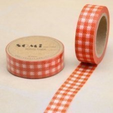 washi tape Check naranja. 15 mm x 10 m