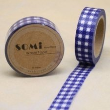 washi tape Check azul cobalto. 15 mm x 10 m