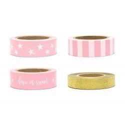 4 Rollos de Washi tape rosa y oro