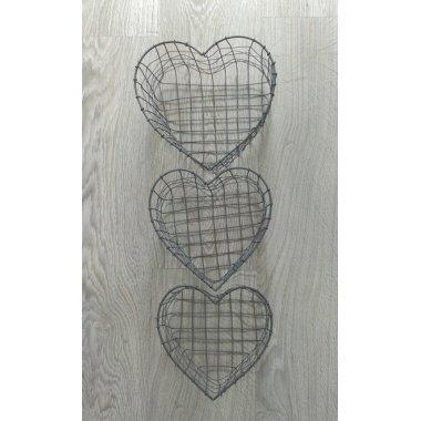 Set 3 cestas de zinc en forma de corazón