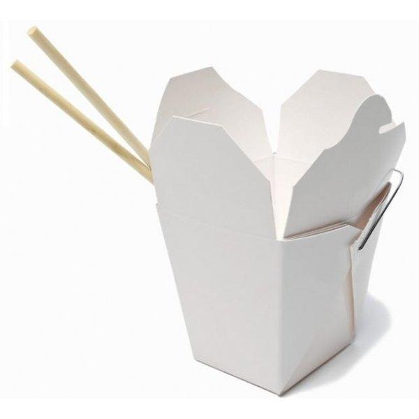 10 Cajas blancas/comida china, con asita metálica.