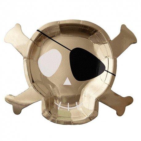 8 Platos calavera dorada, pirata
